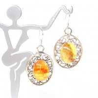 Earrings With Honey Color Baltic Amber Oval Shape insect inclusion Sterling 925 Silver Hooks