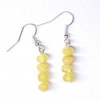 Polished Baroque Style Royal - Milky Baltic Amber Dangle Earrings 205-1