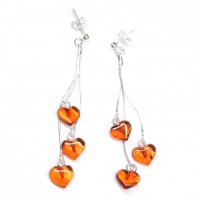 Sterling Silver 925 Heart ShapedCognac Baltic Amber Dangle Earrings