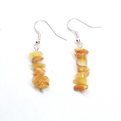 Raw Milky Baltic Amber Nuggets Dangle Earrings