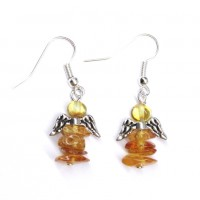 "Polished Chips Style Baltic Amber Earrings Honey Color ""GUARDIAN ANGEL"""