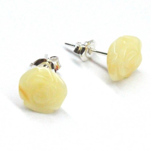 "Baltic Amber Royal Milky Color 925 Sterling Silver Stud Earrings ""ROSE"""