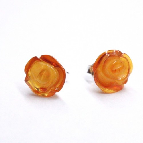 "Baltic Amber Honey Color 925 Sterling Silver Stud Earrings ""ROSE"""