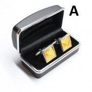 Square Shape Silver Color Cufflinks With Baltic Amber