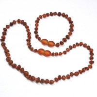 Unpolished Baroque Style Cognac Baltic Amber Teething Necklace / Bracelet Set