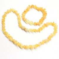 Unpolished Nugget Style Royal Milky Baltic Amber Teething Necklace / Bracelet Set