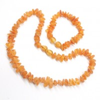 Unpolished Nugget Style Honey Baltic Amber Teething Necklace / Bracelet Set