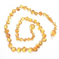 Polished Baroque Style Light Honey Amber Baby Teething Necklace