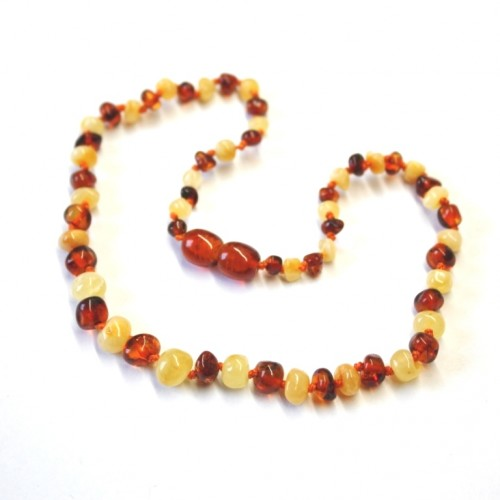 Polished Baraque Style Milky/Cognac Amber Baby Teething Necklace