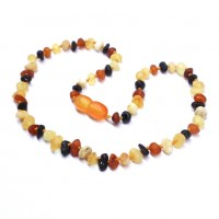 Unpolished Baroque Style Multicolor Baltic Amber Teething Necklace