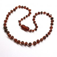 Unpolished Baroque Style Dark Cognac Color Baltic Amber Teething Necklace