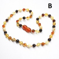 LUXURY Polished Round Style Multi-color Baltic Amber Teething Necklace