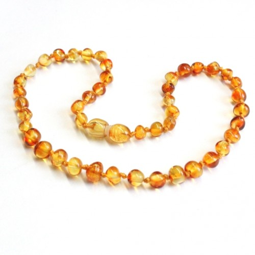 Polished Baroque Style Honey Amber Baby Teething Necklace