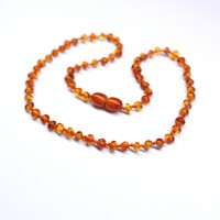 Polished Baroque Style Light Cognac Baltic Amber Teething Necklace