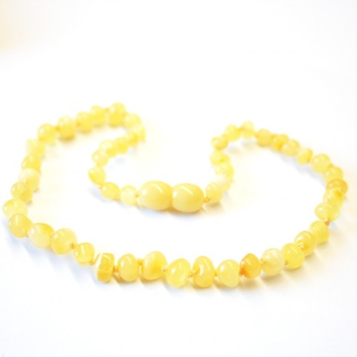 Polished Baraque Style Milky (Royal) Amber Baby Teething Necklace