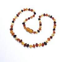 Polished Baroque Style Multi-color Amber Baby Teething Necklace
