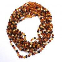 Lot of 10 Polished Baraque Style Multicolor Amber Baby Teething Necklace