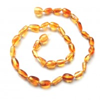 Lot of 10 Polished Bean Shaped Honey Amber Baby Teething Necklace