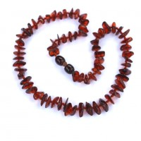 Polished Split Style Dark Cognac Teething Necklace