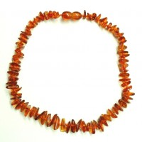10 Polished Split Style Light Cognac Amber Baby Teething Necklaces