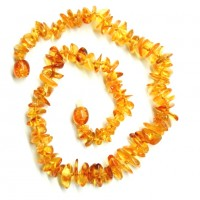 10 Polished Split Style Honey Color Amber Baby Teething Necklaces