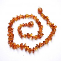 10 Polished Nuts Style Light Cognac Amber Baby Teething Necklaces