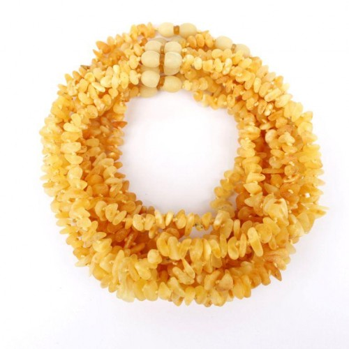 10 Raw Split Royal Milky Color Baltic Amber Teething Necklace