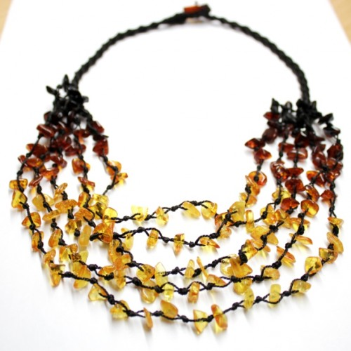 "5-Line Beads Multicolr Baltic Amber Necklace ""RAINBOW"""