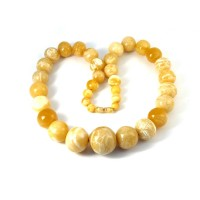 Polished Round Bead Royal Milky Butter Color Necklace 28.35 in 215g