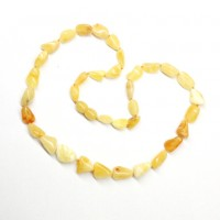 Polished Bean Style Royal Milky Baltic Amber Adult Necklace