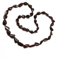 Polished Bean Style Cherry color Baltic Amber Adult Necklace