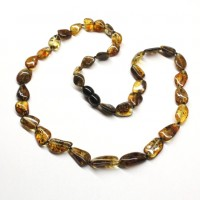 Polished Bean Style Green Baltic Amber Adult Necklace