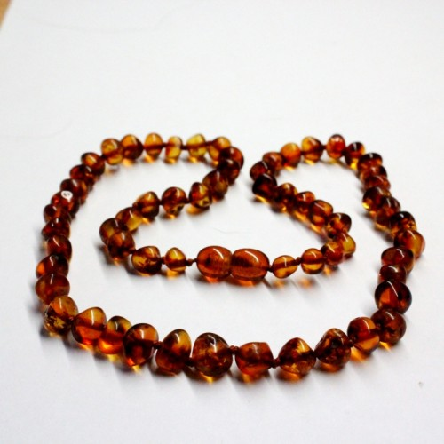 Lot of 10  Polished Baraque Style Dark Cognac Color Baltic Amber Necklaces