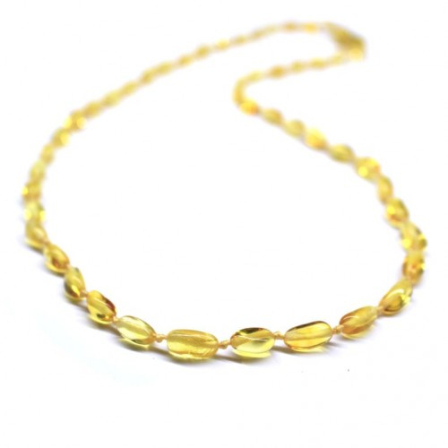 Polished Bean Style Lemon Color Baltic Amber Adult / Mom Necklace