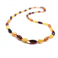 Polished Bean Shape Multicolored Baltic Amber Adult Necklace