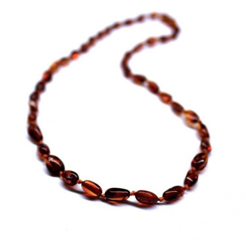Polished Bean Style Dark Cognac Baltic Amber Adult / Mom Necklace