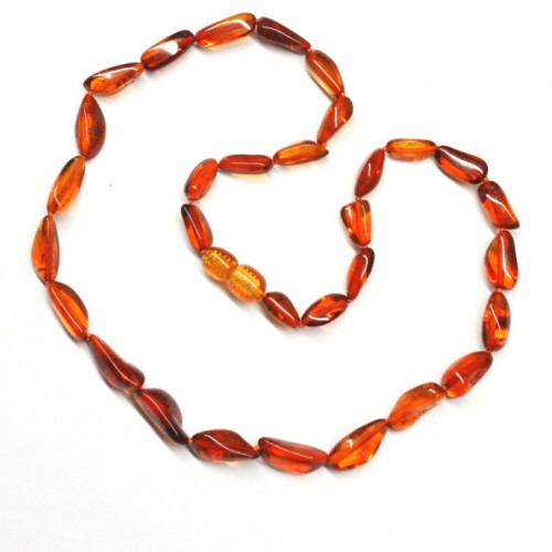 Polished Bean Shape Cognac Baltic Amber Adult / Mom Necklace