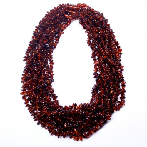 10 Polished Nuts Style Dark Cognac Color Baltic Amber Necklaces