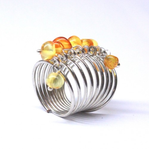 Silver Color Ring With Light Lemon Baltic Amber size 7 3/4