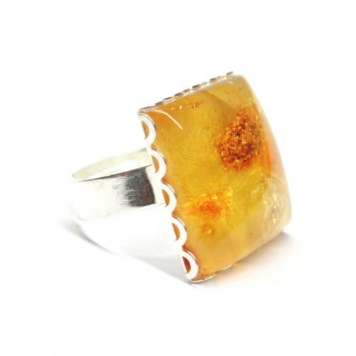 Silver Color Ring With Lemon Color Baltic Amber Size Adjustable