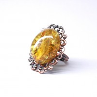 Soviet-era USSR Cooper Ring With Lemon Color Baltic Amber