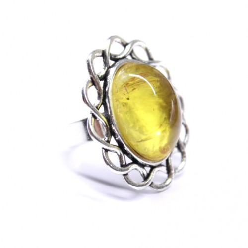 Silver Color Ring With Lemon Color Amber Adjustable