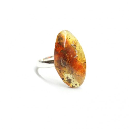 Silver Color Ring With Honey And Green Color Baltic Amber Size Adjustable