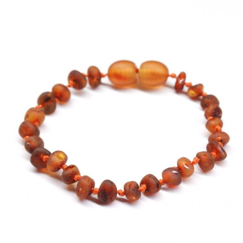 Unpolished Baroque Style Cognac Baltic Amber Teething Bracelet/Anklet