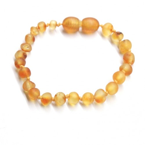 Unpolished Baroque Style Honey Baltic Amber Teething Bracelet/Anklet