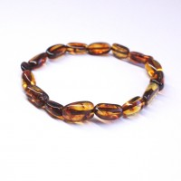 Polished Bean Style Dark Cognac Baltic Amber Adult Bracelet
