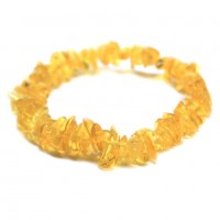 Polished Split Style Lemon Baltic Amber Adult Elastic Healing Bracelet