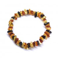 Polished Nuts Style Multicolor Baltic Amber Adult Elastic Healing Bracelet