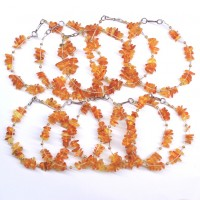 10 Polished Chips Style Honey Baltic Amber Adult Bracelet