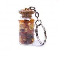 Key-ring With Amber In The Bottle